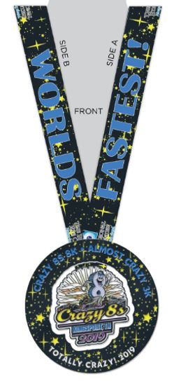 Crazy 8s Totally Crazy 2019 Medal with Ribbon
