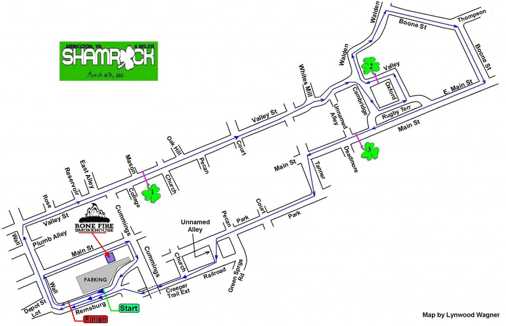 Shamrock 4 Miler Course Map