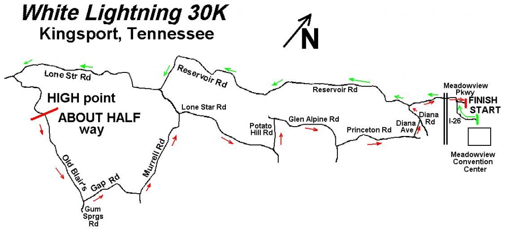 White Lightning Ride 30K Map