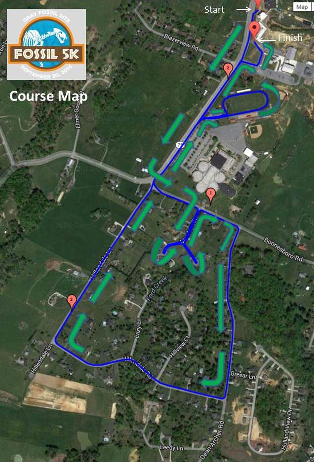 Fossil5K Course Map
