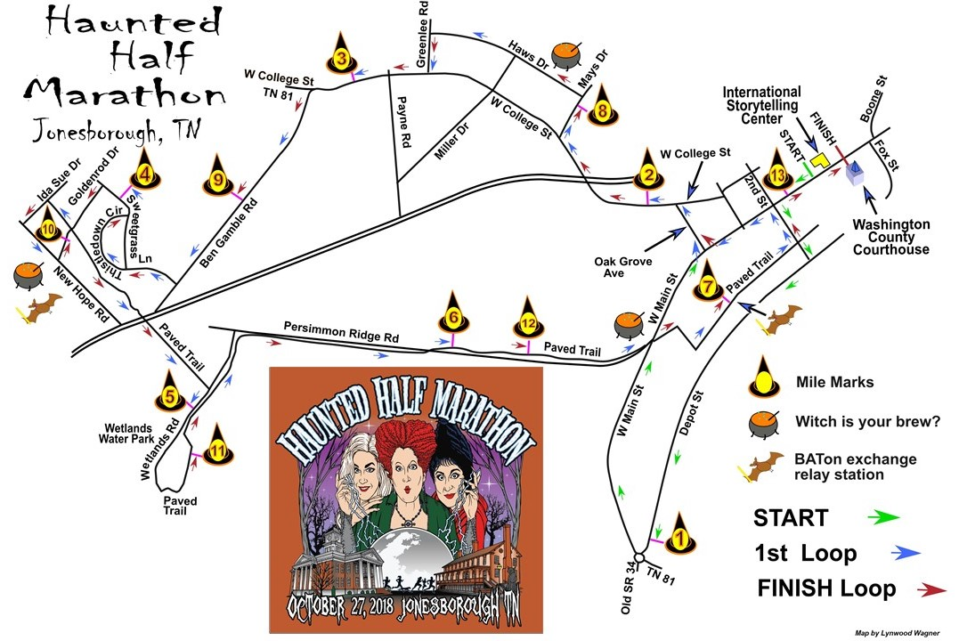 Haunted Half Course Map 2018