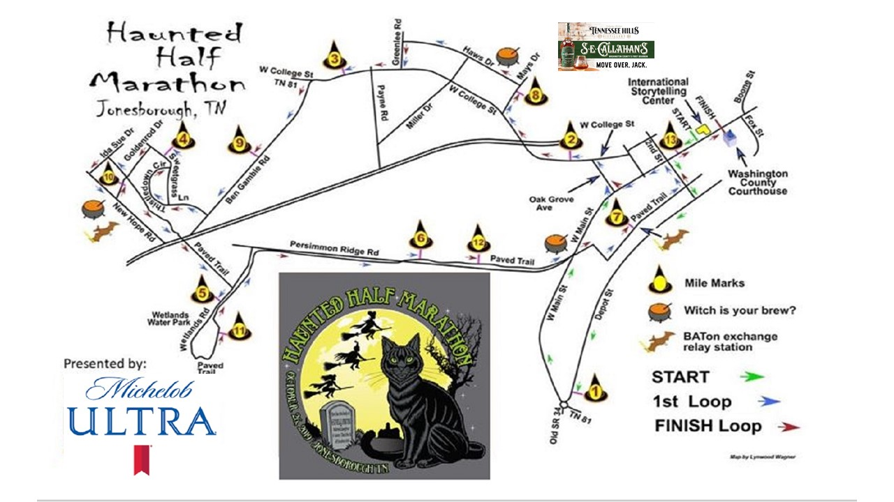 Haunted Half Course Map 2019